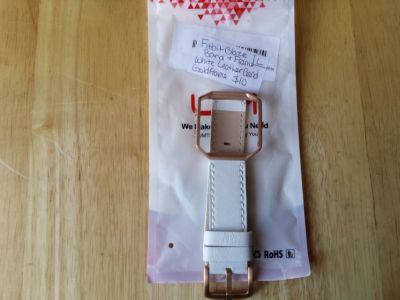 Fitbit blaze band and frame. White leather band gold frame large