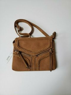 nwt violet ray nyc magnetic flap crossbody purse * camel
