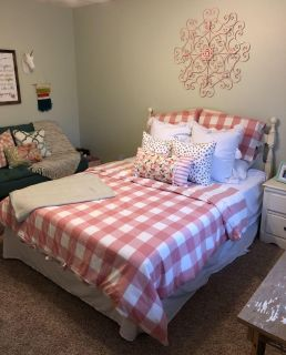 Euc Pink and white buffalo check duvet and 2 standard shams Full/Queen