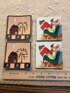 4 coasters 2 Country Primitive wooden & 2 retro Santa with Coke with cork back