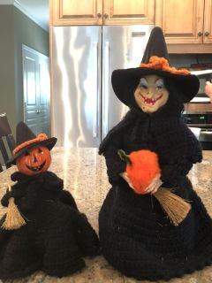 Handmade vintage knitted witch and pumpkin
