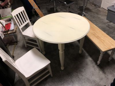 Wooden Kitchen Round Table, 2 Chairs and 1 bench