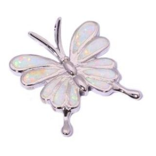 New - White Fire Opal Butterfly Pendant (Includes a chain)