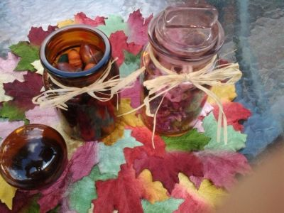 Pink Blown Glass (NEW) Jar & Glass Amber Jar Filled With Potpourri/Botanical