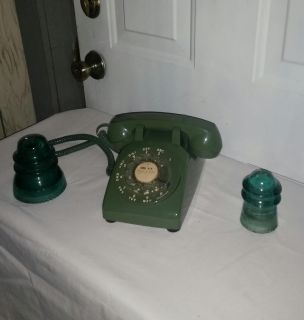 Antique Olive Green phone. Works perfect. 2 old phone insulaters a little rough place underneath each insulator. All for $20