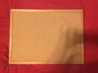 Lg Framed Pin Board Memory Board w/ hangers attached 21 by 18 tall