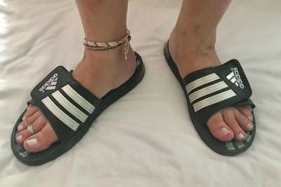 Men s Adidas adjustable slides w/Velcro, Sz 11 (women s 12). Black/Silver. Great condition! Only $8!