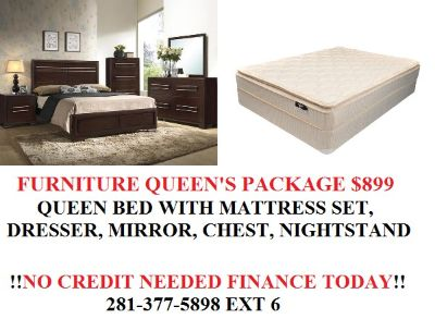 $899, Landon 7pc queen bedroom set with pillowtop mattress