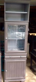 Gray redo, great piece, beveled glass design bun feet over6 tall (exact measurements & pictures later)