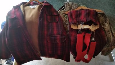 Used Woolrich red plaid snow suit. LARGE