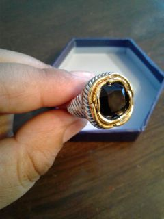New Men's Two-Tone Onyx large ring (
