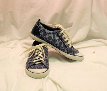 Coach Barrett Blue Fabric Signature Sneakers sz 8 Athletic Casual Shoes Logo