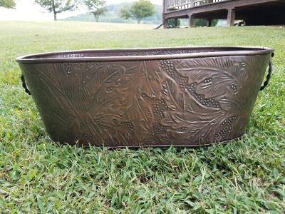 Large Oval Copper Tub for Drinks or Planter or Firewood Holder