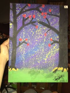 Cherry Blossoms at Night painting