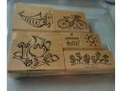Stampin up Simply Summer Stamp Set of 6 Mtd Retired & Htf