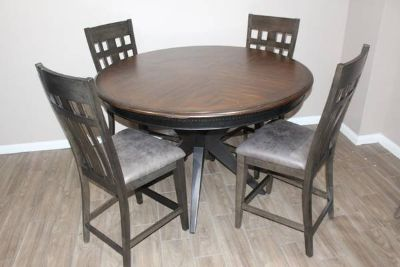 Solid Wood Dark brown ROUND dining table with 4 chairs