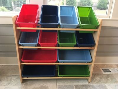 Wooden and Plastic Toy Organizer / Storage Shelf; 12 Bins Primary Colors!