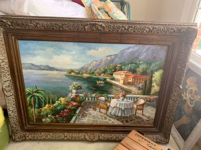 Large painting in wood frame