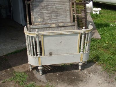 2 ANTIQUE SINGLE BED FRAMES-MATCHING