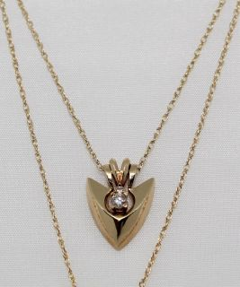 14K Yellow Gold & Diamond Arrowhead Convertible Pendant Necklace