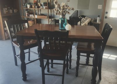 Solid wood counter height table and 4 chairs