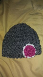 Hand crocheted baby slouch hat size 3+ months