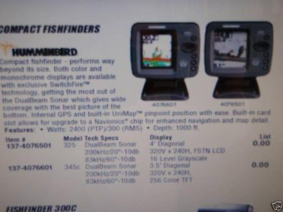 Buy FISHFINDER HUMMINBIRD 345C COMPACT 137-4076601 COLOR motorcycle in Osprey, Florida, US, for US $299.99