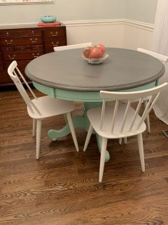 Rustic, Shabby Chic Mint Pedestal Table & four French Linen, Farmhouse, Vintage, Solid Wood Chairs.
