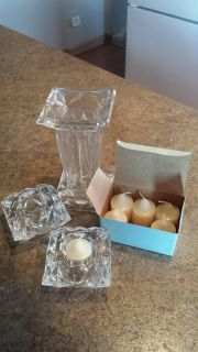 "Party Lite set - 7"" tall vase or flip over candle holder - 2 3 1/2"" square candle holders & 6 candles. All $15.00"