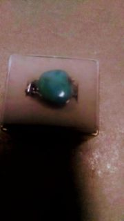 Size 8 turquoise ring made by artist in Puerto Rico