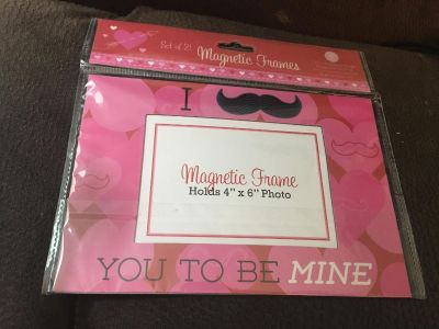 2 magnetic 4x6 photo holders. For fridge. File cabinet at work. White board. Kids. Hubby love. Valentines. New in sealed pack
