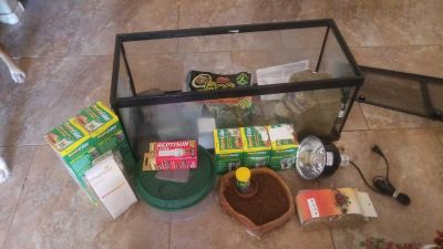 Reptile enclosure and extras $150