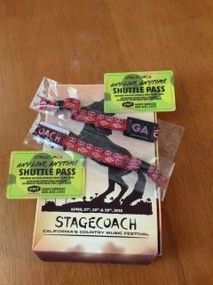 Two 3-Day Stagecoach GA Tickets and Shuttle Passes