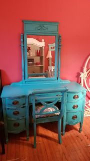 Turquoise distressed solid wood antique vanity and chair