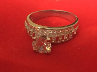 Real silver ring with good lab diamond