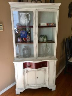 FARMHOUSE COUNTRY CABINET.. perfect for kitchen, bathroom, entryway, nursery....finished in antique white and distressed then sealed