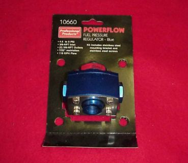 Find PROFESSIONAL PRODUCTS 10660 POWERFLOW BLUE FUEL REGULATOR 4.5-9PSI 2 PORT HOLLEY motorcycle in Fort Wayne, Indiana, United States, for US $39.95