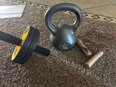 Kettle bell ab roller jump rope