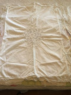 Pair of white embroidered pillow shams. Standard/queen
