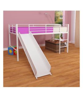 Twin size loft bed with slide. Will throw in plywood board to keep mattress from sinking into bars.