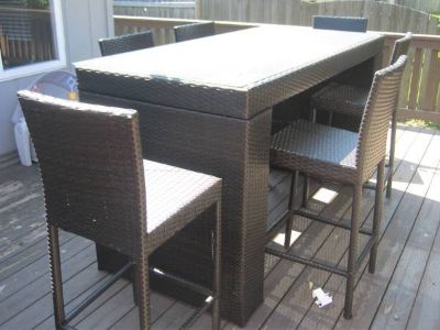 Merax 7-Piece Patio Pub Table & 6 Chairs - PE Rattan / Wicker