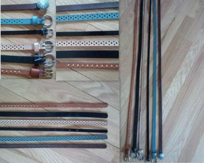 All-Leather Skinny Fashion Belts for Women (Set of 6)
