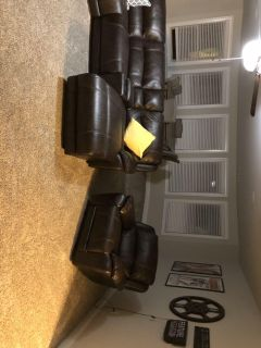 AUBURN HILLS TAUPE LEATHER 3 PC RECLINING SECTIONAL & POWER RECLINER