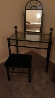 Glass dresser with vanity seat