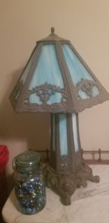 OLD and heavy blue slag glass lamp