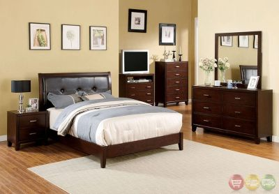 Queen Bed Brown Leatherette Wood