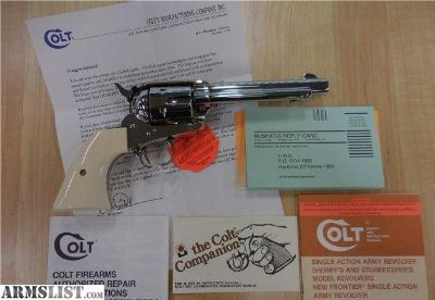For Sale: COLT SAA NICKEL .38-40 W/ IVORY GRIPS P3851 AS NEW W/ BOX SINGLE ACTION ARM