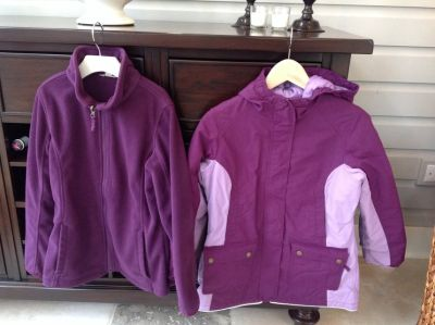 Girls Lands End Purple 3-in-1 Parka-Winter Coat + Matching Snowpants Size 10-12