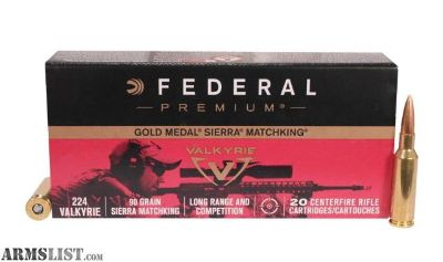 For Sale: Federal Gold Medal 224 Valkyrie 90 Grain SIERRA MATCHKING Boat tail Hollow Point, One Case/10 Boxes of 20 Rounds GM224VLK1