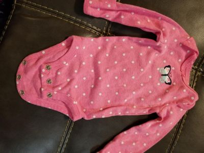 Carters NB Pink w white dots & butterfly onesie long sleeve can be turned to cover hands ,**Porch Pickup**